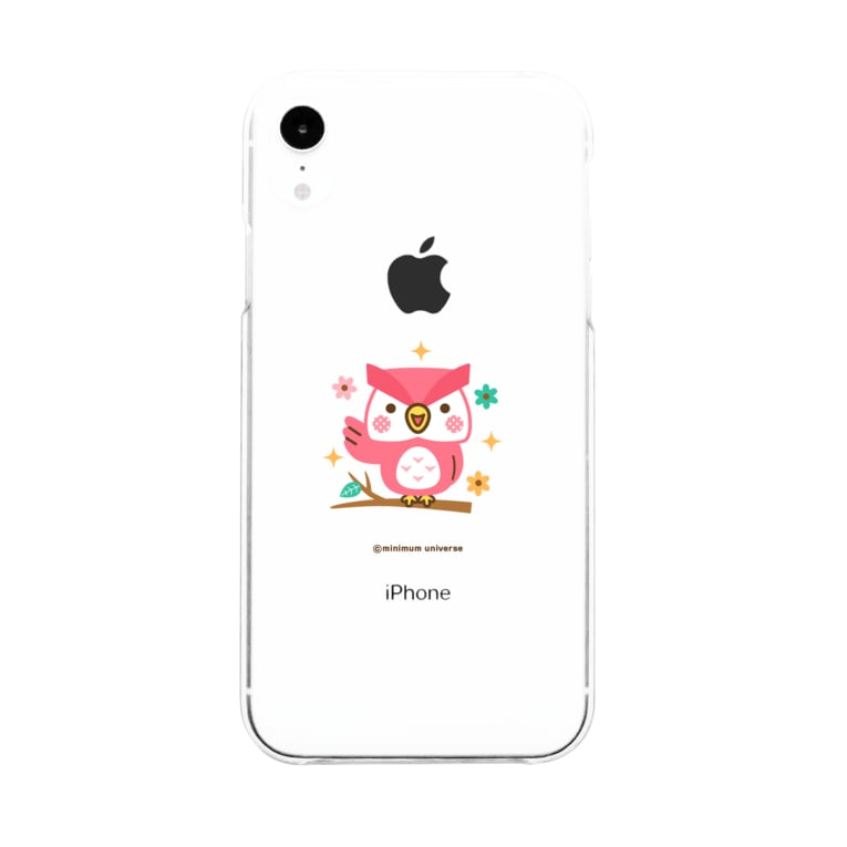 minimum universe shopのももいろフクロウのフクさん Soft clear smartphone cases