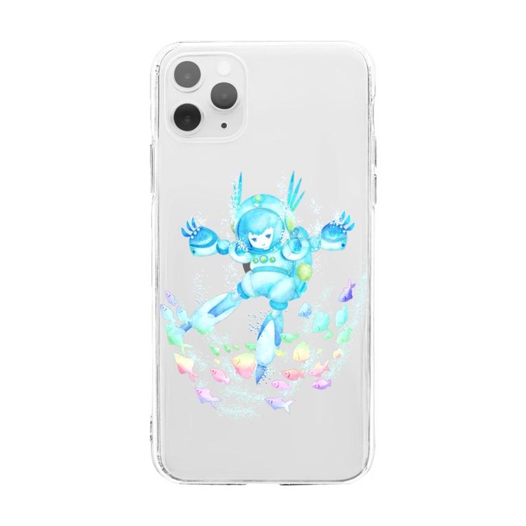 ハルノキ工房のそら およぐ シロ Soft clear smartphone cases