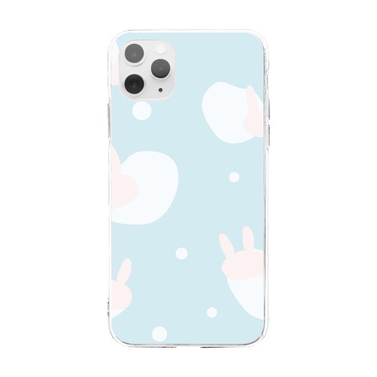 USAGI DESIGN -emi-のふんわりウサギドット Soft clear smartphone cases