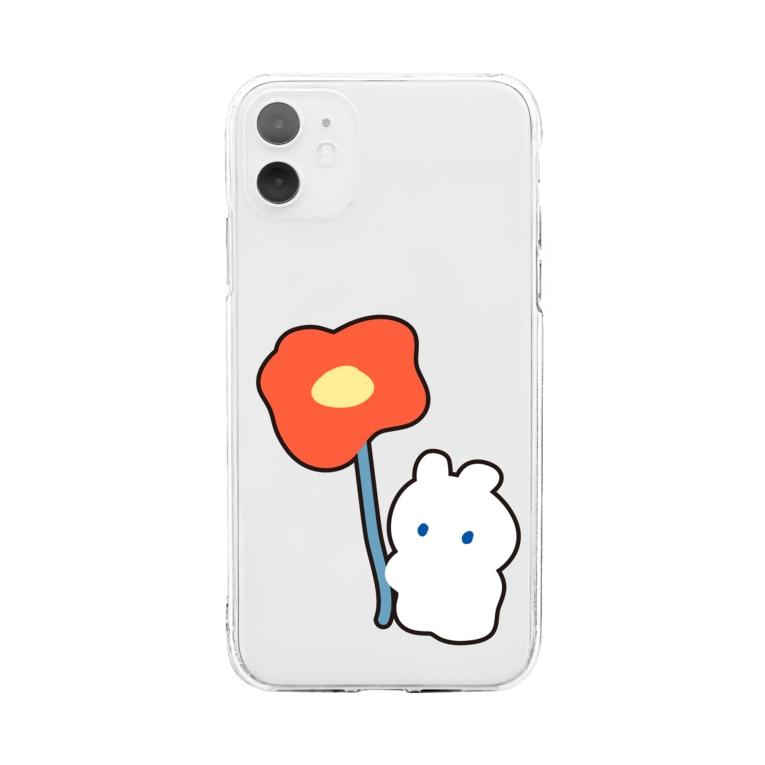 Sesujiのポピーとうさぎ Soft clear smartphone cases