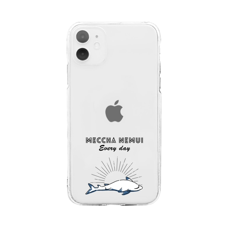 屋台 urukaのMECCHA NEMUI さめ Soft clear smartphone cases