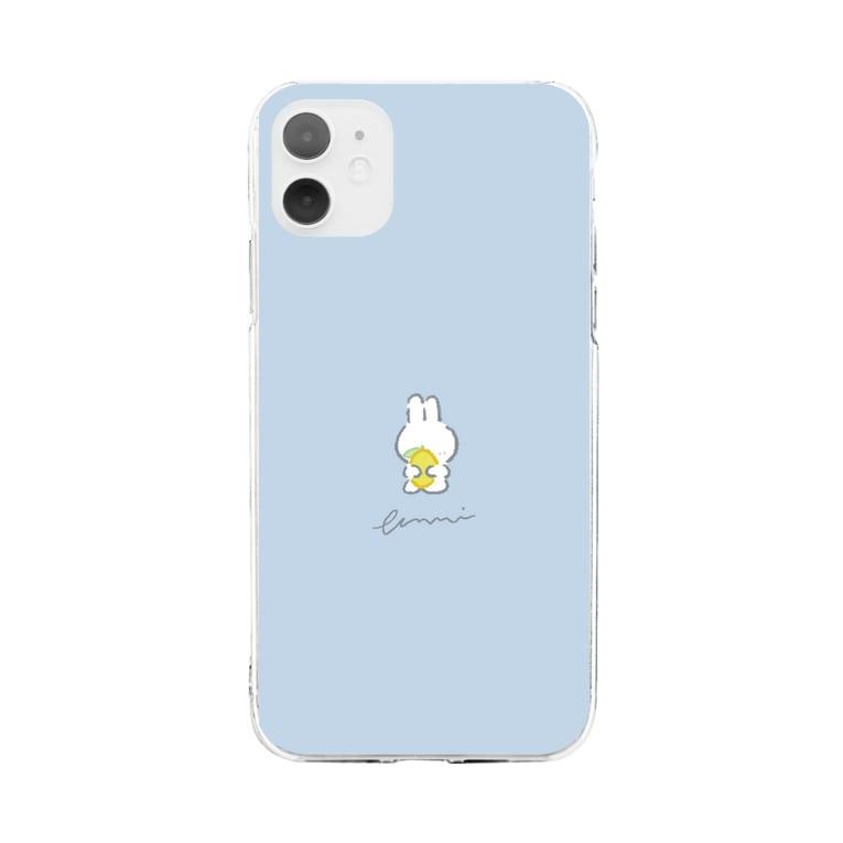 ふきげんなうさぎ🐰のふきげんなうさぎ(レモン) Soft clear smartphone cases