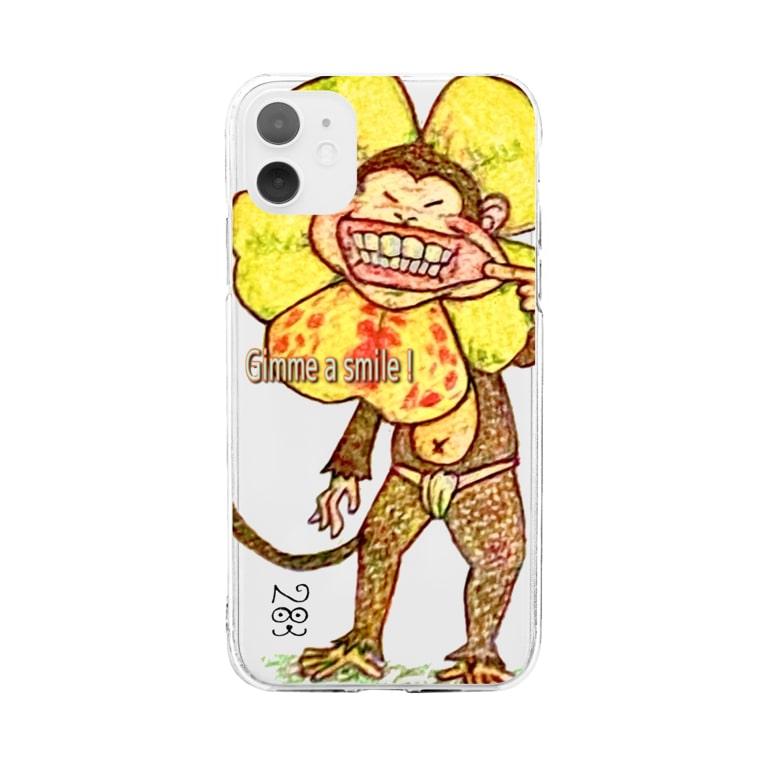 bucchi283のmonkey flower 「笑顔を見せて」 Soft clear smartphone cases