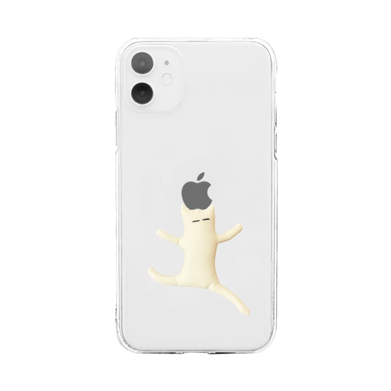 KimamaShopの自由な白い生き物(りんご真ん中Ver.) Soft clear smartphone cases