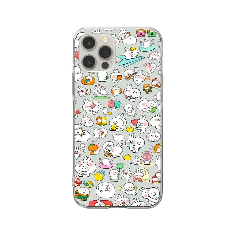AKIRAMBOWのLots of Spoiled Rabbits / あまえんぼうさちゃんがいっぱい Soft clear smartphone cases