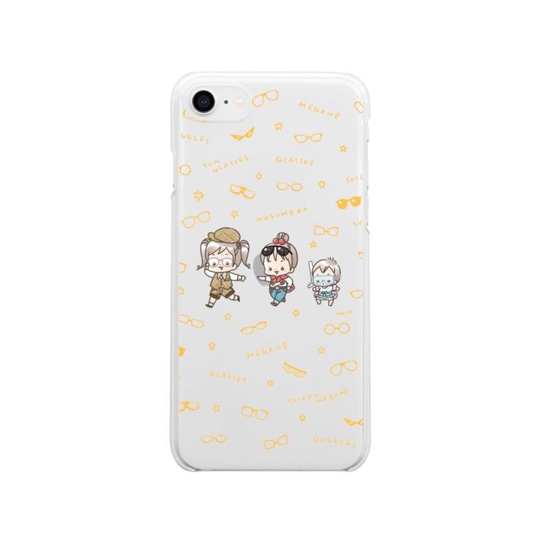 ナコのメガネなムスメら Soft clear smartphone cases