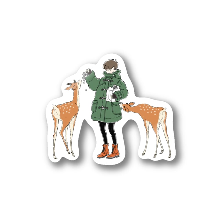 hicono webstoreのダッフルコートと鹿 Stickers