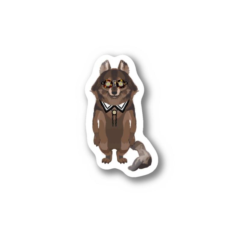 Sue visual storeのメガネをセロファンテープで貼り付けたオオカミ 全身 Stickers