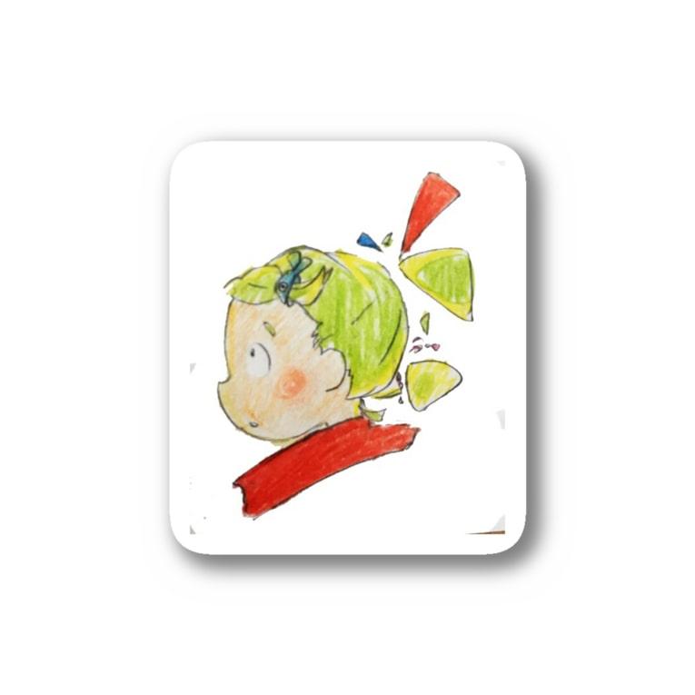 fuffu_dazoの黄緑色の髪の髪留めをつけた少女(イラスト 女の子 色鉛筆)ふっふ Stickers