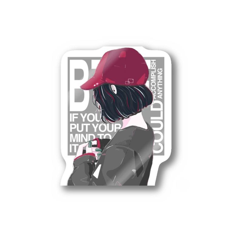 homareのキャップgirl Stickers