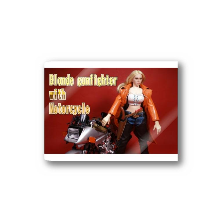 FUCHSGOLDのドール写真:ブロンドガンファイターとオートバイ Doll picture: Blonde gunfighter & motorcycle Stickers