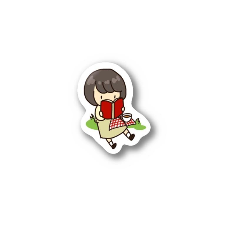 tateto.の読書のぼぶちゃん Stickers