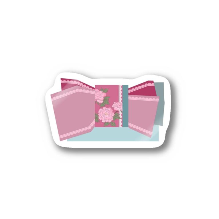 yacocoの帯柄 水色×ピンク Sticker