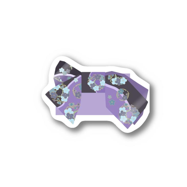 yacocoの帯柄 黒×紫 Sticker