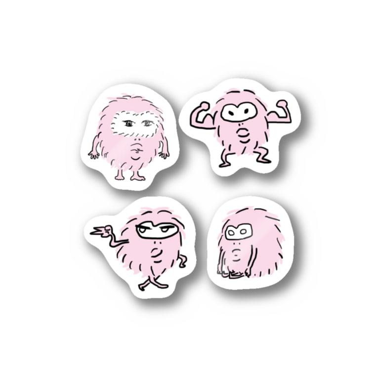 ひろのはこのもじゃえっとフレンズ ピンク Stickers