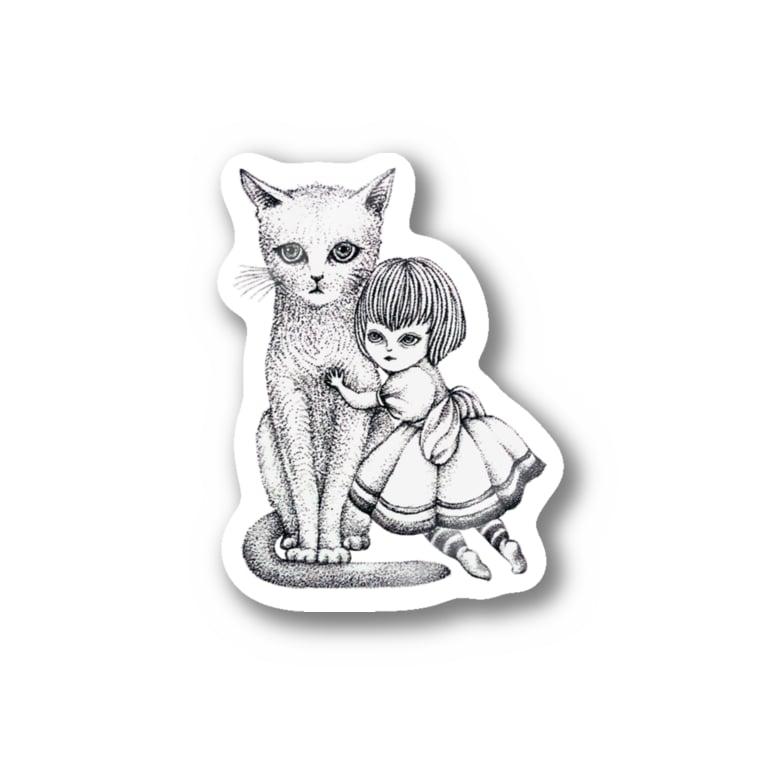 ArtSpringsの猫と少女 Stickers