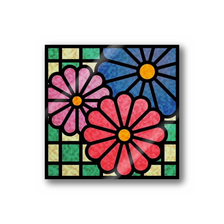 ねこやなぎ屋の和柄ステンドグラス風(菊×市松) Stickers