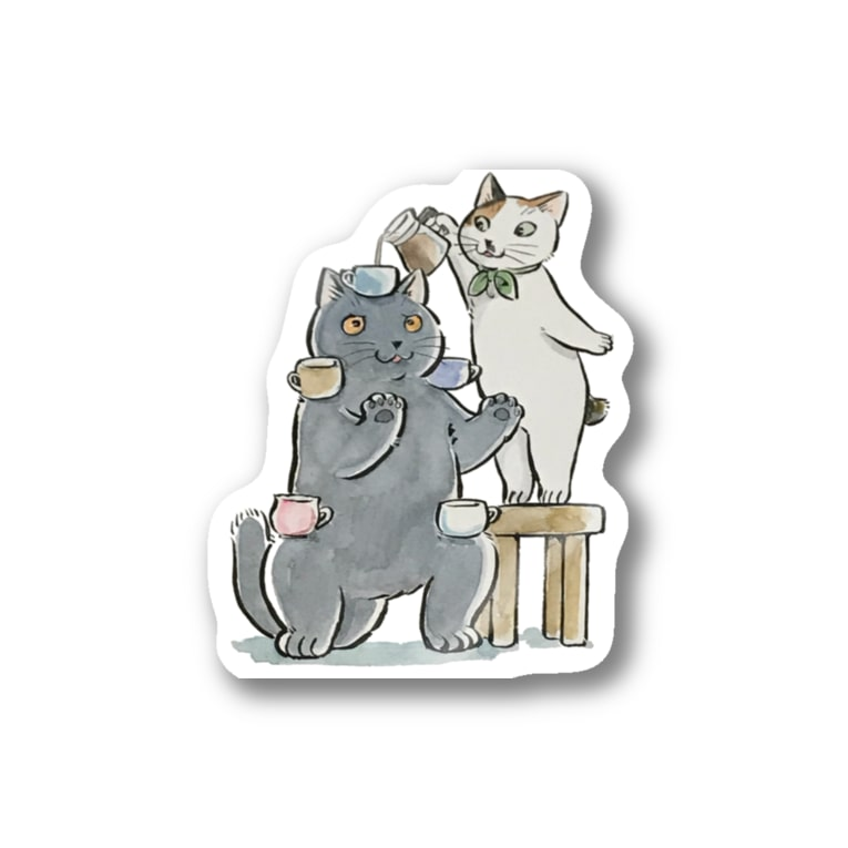 café Mo.freeの猫拳 Stickers