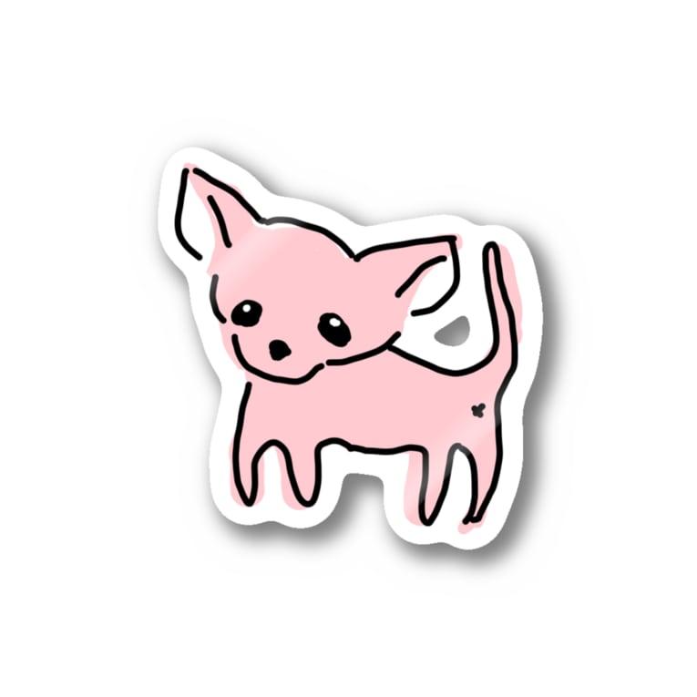 akane_artのゆるチワワ(ピンク) Stickers