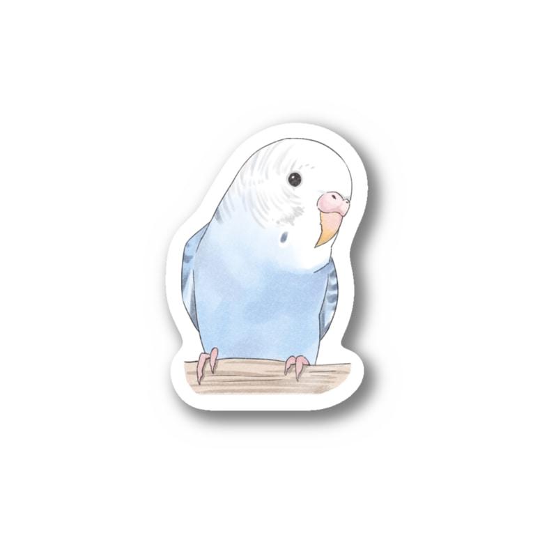 まめるりはことりのおしゃまな止まり木セキセイインコちゃん【まめるりはことり】 Stickers