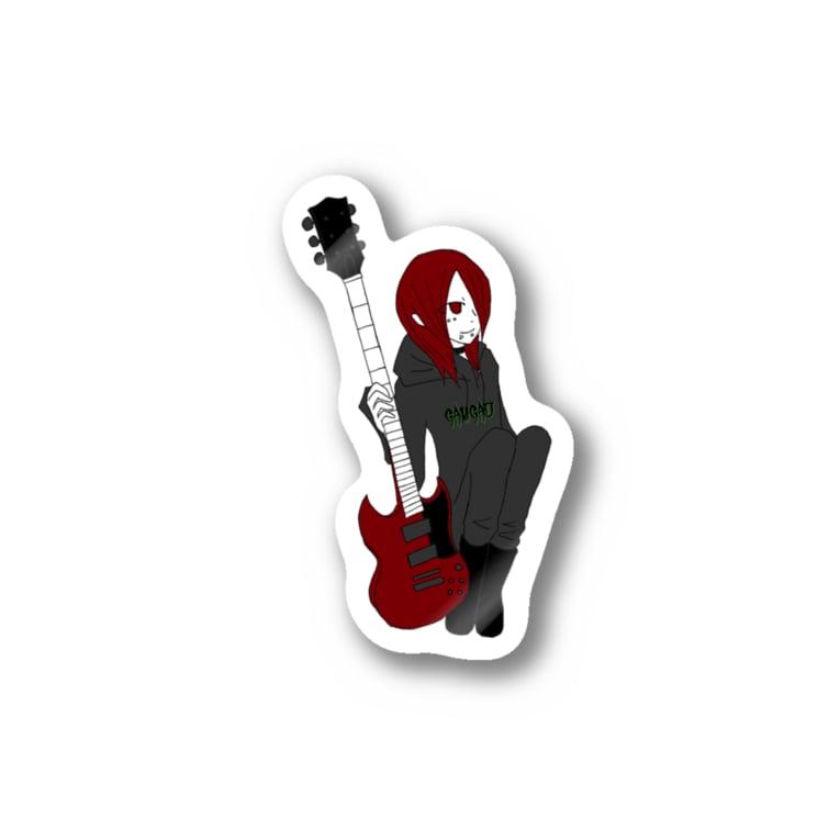 m1ne_p1xy___の赤いギターと赤い少女 Stickers