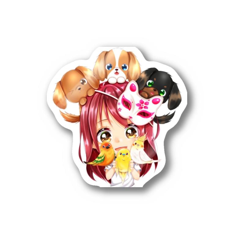 きゃぴあてれび♥ショップのハッピーアニマル(初期限定デザイン|キャバリア・インコ・犬・鳥) Sticker