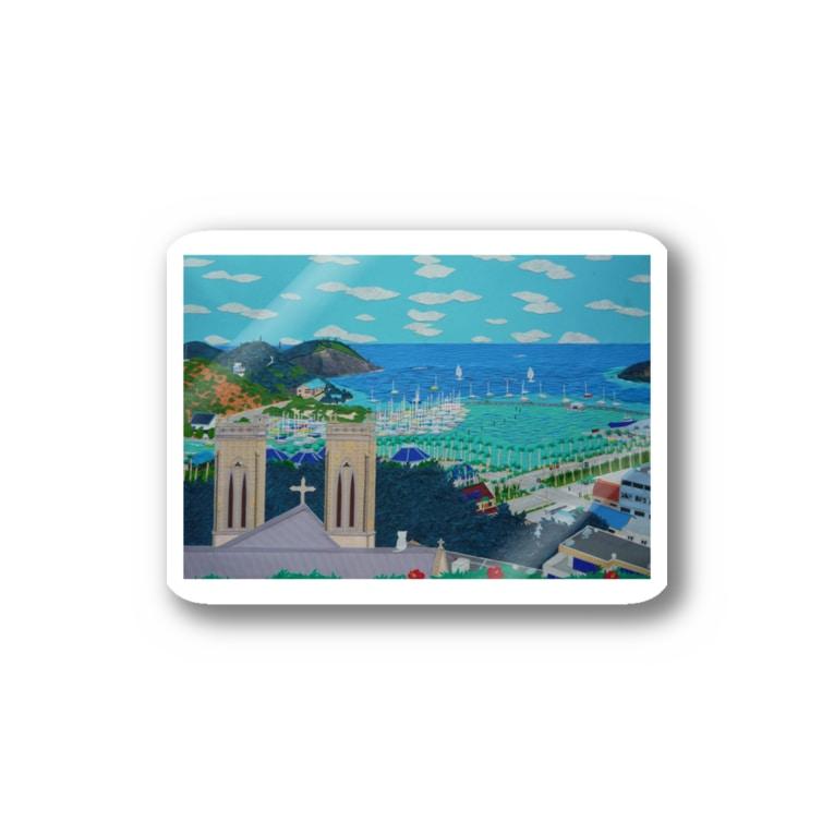 Junie貼り絵グッズのニューカレドニアFOLの丘 Stickers