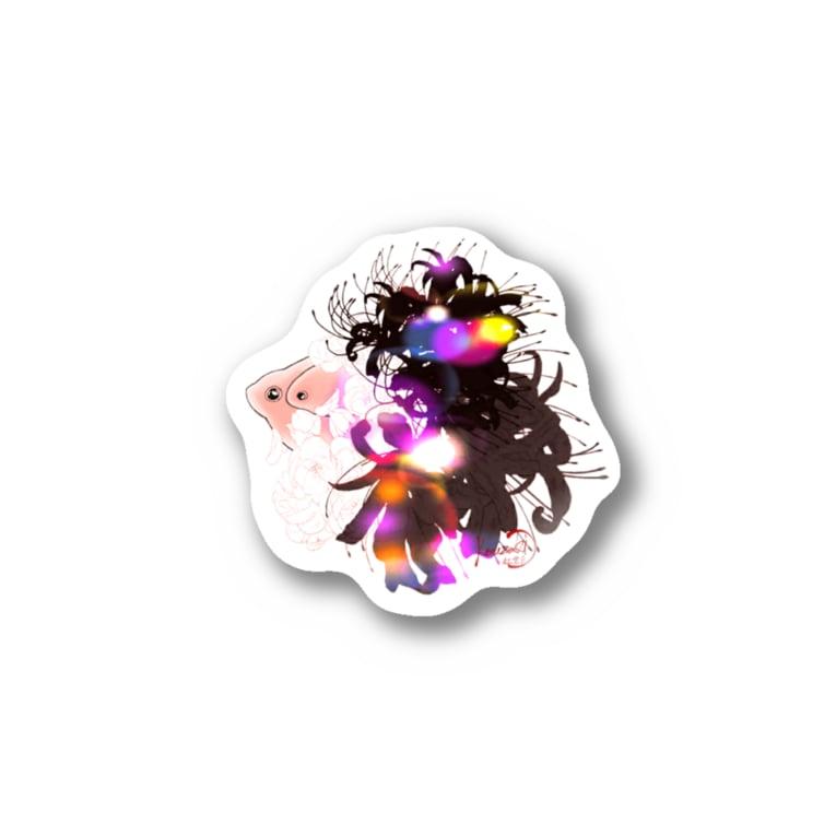 紅空月(kouzuki)-designの金魚花_煌color Sticker
