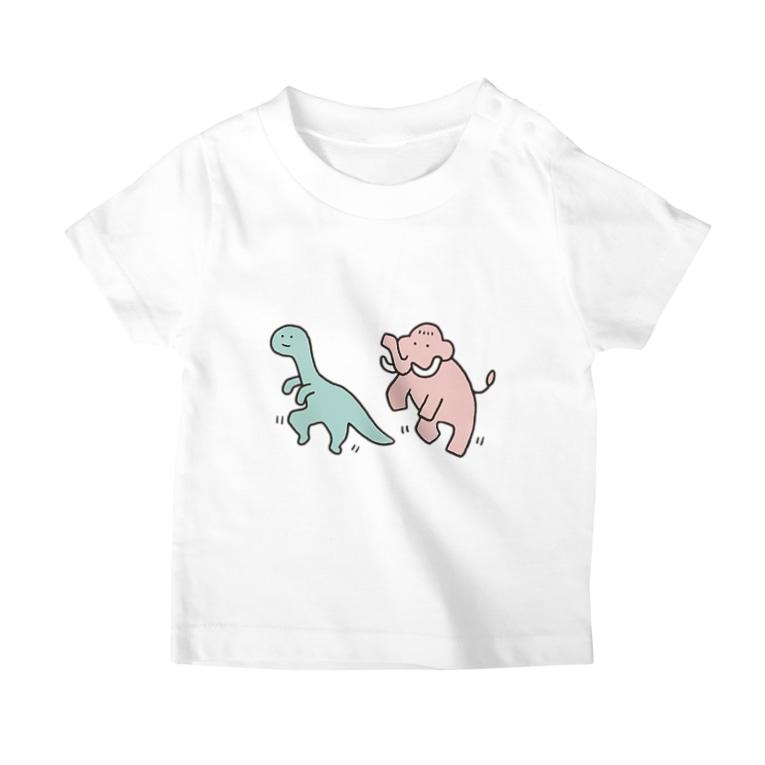 ぼんやり商会 SUZURI店のこどもザウルスとこどもマンモス(こども) T-Shirt