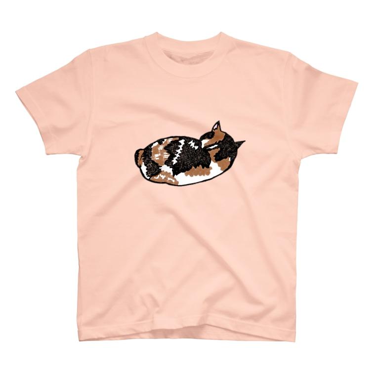 消しゴムはんこ 琴の店の眠る三毛猫さん T-Shirt