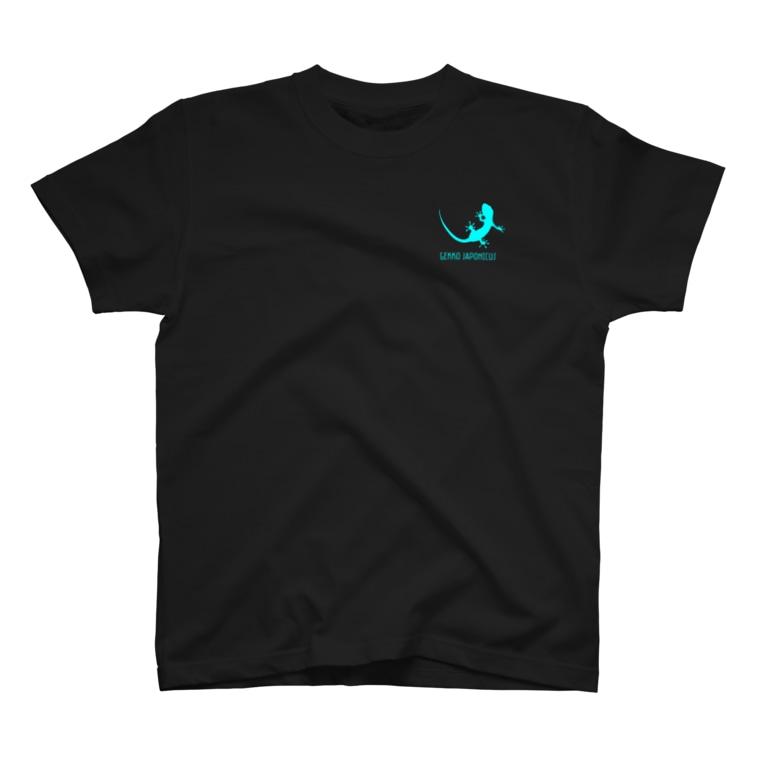 motchamのヤモリ シルエット ロゴ (  ルミナスブルー ) T-shirts