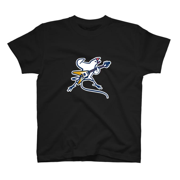 Momi Buncho Lab SHOPのフライングV文鳥 T-shirts