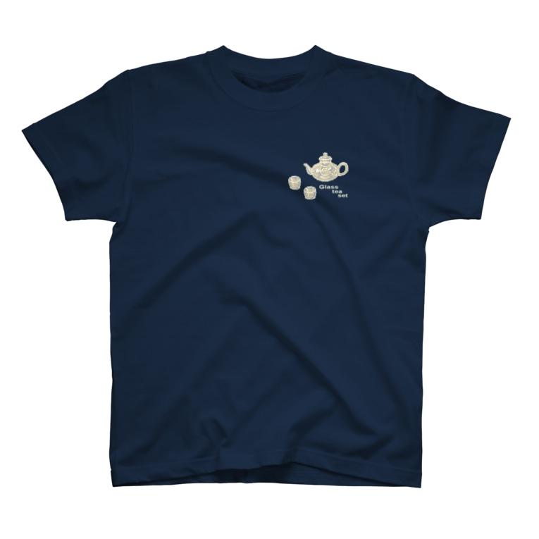 どっと屋のGlass tea set white T-shirts