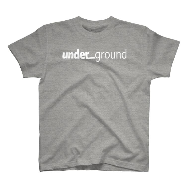 un_grn (月刊アングラ)のunder_ground (white logo)【前】/steps【背】: TS T-shirts