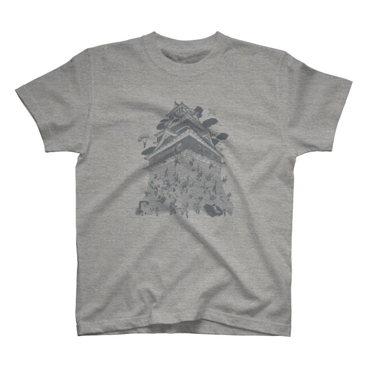 OW STOREの熊本城武者返し イラストカラー:グレー T-shirts