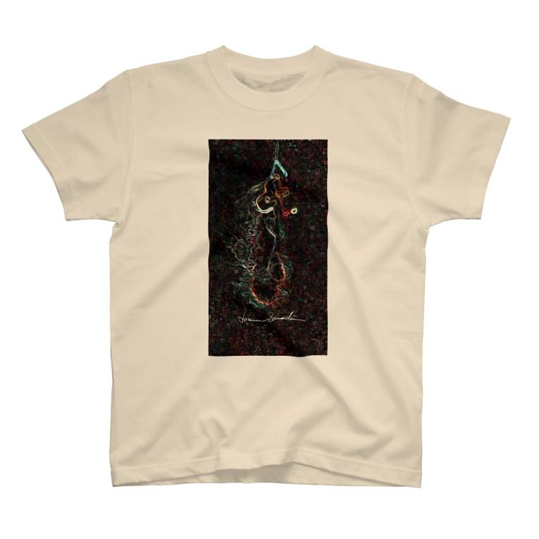 Akieem Zawadi's SHOPのSurfing  on the Milky Way T-shirts