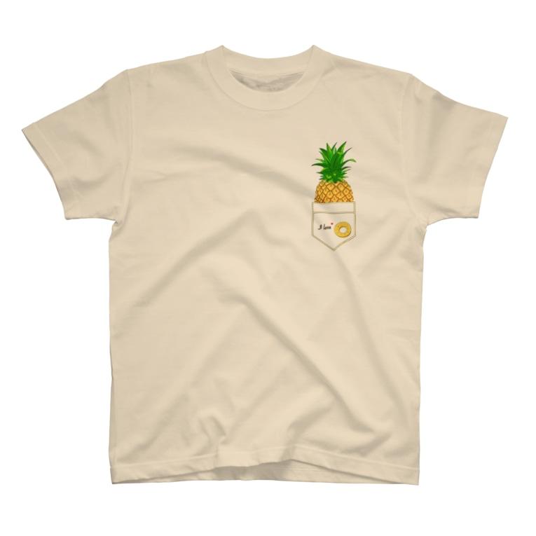 ekoeko ショップのI love パイナップル ワンポイントTシャツ T-Shirt