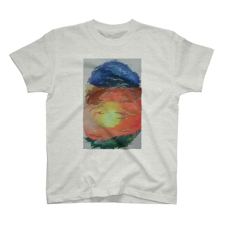 枡 大地 【YouTube復活したよ】の夕焼けの海に見えた人もいるし大きな鳥にも見えた人がいる T-shirts