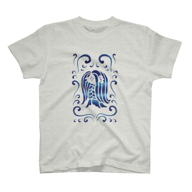 ツバメ堂のアマビエ様と波・青 T-shirts