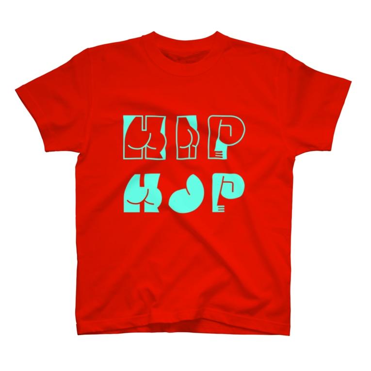 SANKAKU DESIGN STOREのHAPPY ASS HIP HOP! ネオンブルー T-shirts