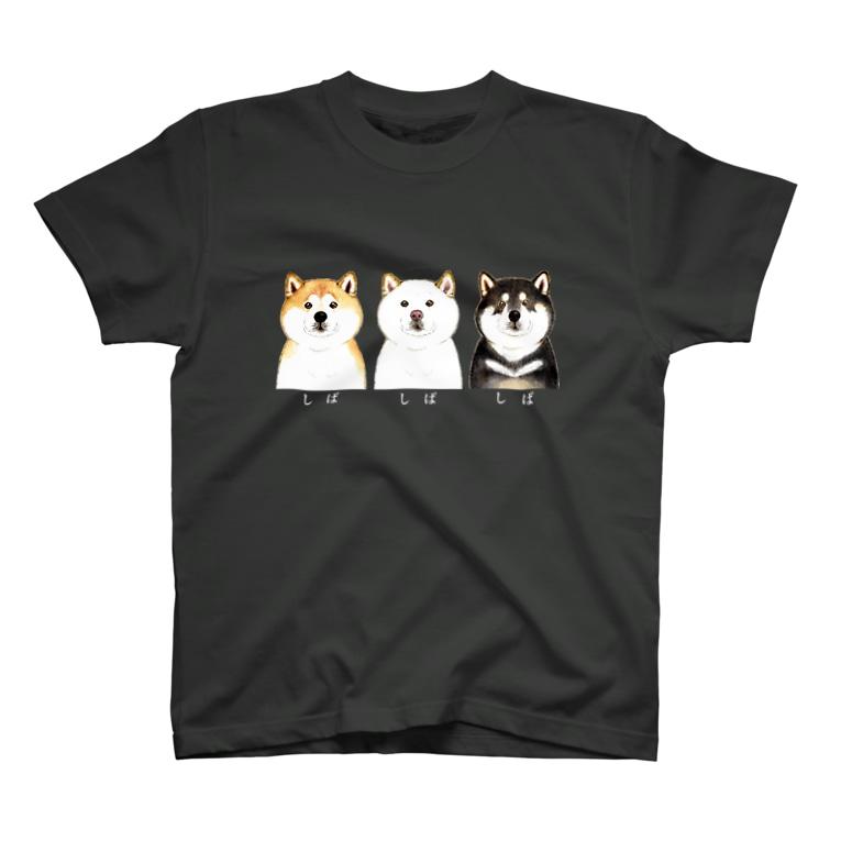 wankorosobaのしば しば しば Tシャツ【文字白】 T-shirts