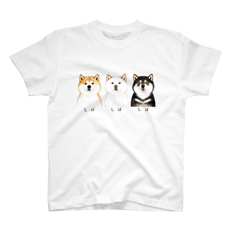 wankorosobaのしば しば しば Tシャツ【文字黒】 T-shirts