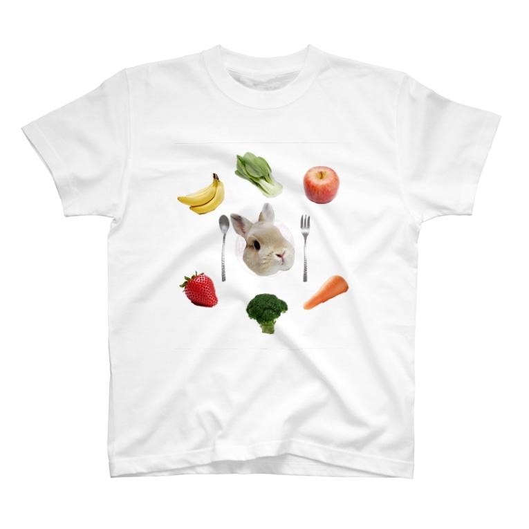 うさかふぇmimiSHOPのうさぎのご馳走プレート T-shirts