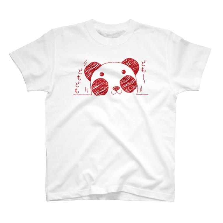 "*suzuriDeMONYAAT*のズレぱんだちゃんの""ども~どもども""赤ライン T-Shirt"