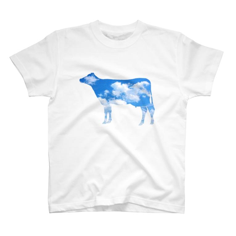 牛絵屋の空柄うし T-shirts