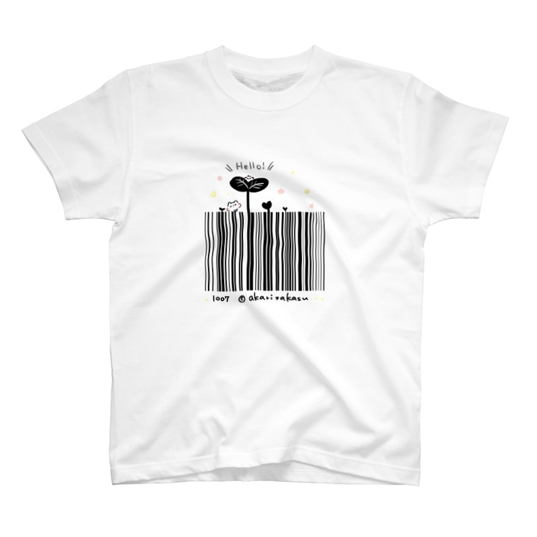 灯さかすのHello!バーコード T-shirts