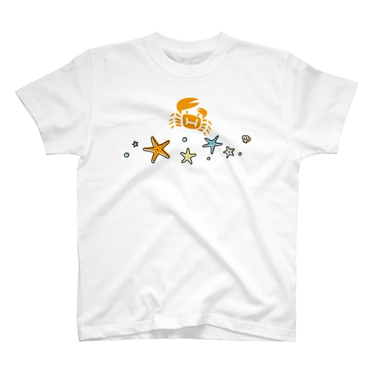 hitohana*+α《ヒトハナ+α》のhitohana*+α ヒトデとカニ T-shirts