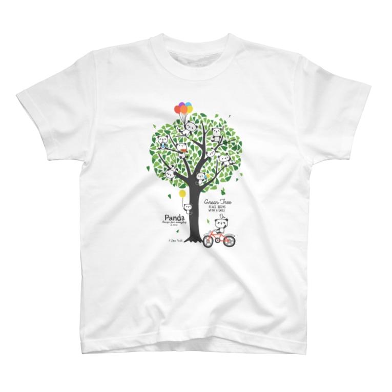 Design For Everydayのパンダと緑の木(Panda & Green Tree) T-Shirt