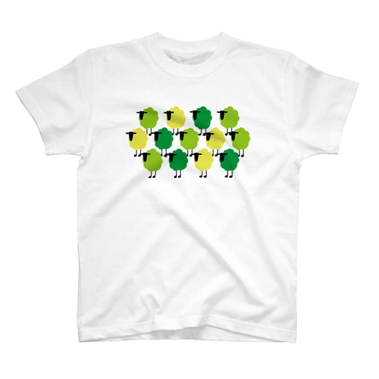 johnmacnの羊の群 緑 T-Shirt