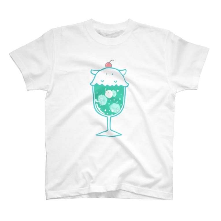 きこのまのクリームソーダに擬態するメンダコ(Wメロンソーダ)-擬態妖精ミミカ- T-shirts